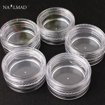 3pcs/lot 3g Empty Storage Clear Plastic Jars Pots Nail Art Tips Number Container Box Case Nail Art Glitter Box Nail Powder Case