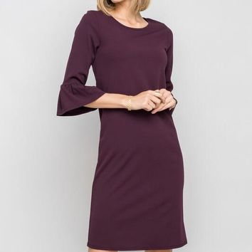 Plum Ruffle Sleeve Shift Dress