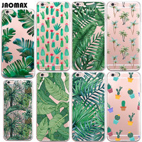 Fashion Green Plants Cactus Banana Leaves Case For iphone 6 6S 6 Plus 6s Plus 5 5S SE 7 7 Plus Transparent Silicone Shell Cover