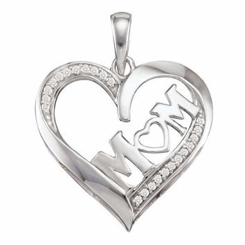 10kt White Gold Women's Diamond Mom Mother Pendant 1-12 Cttw - FREE Shipping (US/CAN)