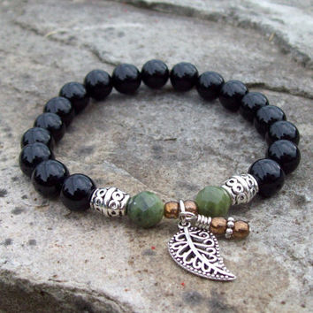 Onyx and Saguaro Jasper Beaded Bracelet with Filigree Leaf Charm and Dangle - Meditation Bracelet - Yoga Bracelet
