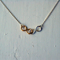 Double Infinity Two Toned Necklace Sterling Silver and Gold Simple Minimalist Jewelry Designer Inspired Bridesmaid jewelry