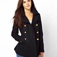 River Island Double Breasted Peacoat at asos.com