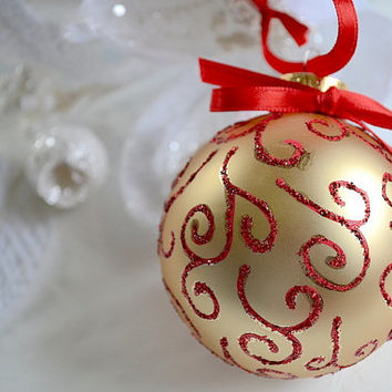 Glass Ball Ornament, Holiday Tree Ornament, Christmas Ornament, Hand Painted Ornament, Gold Red Ornament