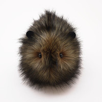 Beaver the Brown with Black tips Faux Fur Guinea Pig Plush 6x10 Inches Large Size