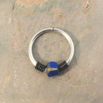 Cobalt Blue and Black Cartilage Hoop Earring Septum Tragus Nose Ring Upper Ear Piercing 20 GaugePink