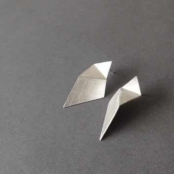 Geometric Silver Earrings, Triangle Sterling Silver Earrings, Minimalist Silver Earrings, Statement Earrings