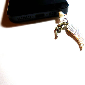 Supernatural Destiel Inspired wing and gun phone charm / dust plug