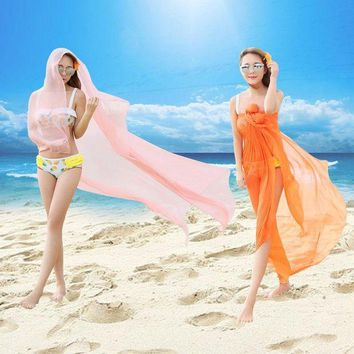 LONMF VILEAD 20 Colors Pure Color Summer Sunscreen Silk Beach Cover-ups Female Chiffon Scarf Hot Selling Fashion Oversized Beach Towel