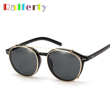 Brand Designer Clip On Sunglasses Punk Style Fashion Hipster Eyewear Goggles Optic Sunglasses Reflective Mirror Sun Glasses 1509