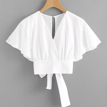 Deep V-Cut Split Back Bow Tie Blouse WHITE