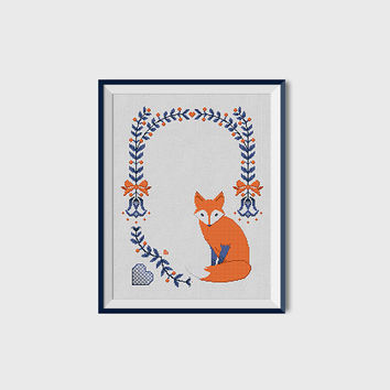 Folk Fox | PDF Cross Stitch Chart - flowers - minimal - design - modern - ribbon - scandinavian