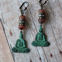 Harmony ~ Bohemian Earrings - Pink Czech Glass Beads - Verdigris Patina Brass Buddha Charms - Aged Silver Rhinestone - Maddie Jean Vintage