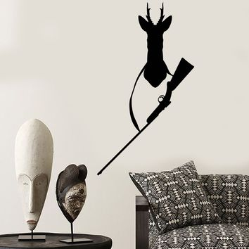 Vinyl Wall Decal Rifle Head Deer Hunter Hunting Hobby Club Stickers (2714ig)