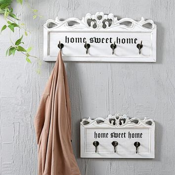 Home Sweet Home Carved Wooden Coat Rack