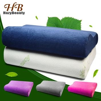 Bamboo Fiber Wave Shaped Latex Memory Foam Pillow Neck Therapy Comfort Velvet Fabric Slow Rebound Bed Pillow for Sleep