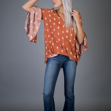 Rust Tribal Diamond Bell Sleeve Top