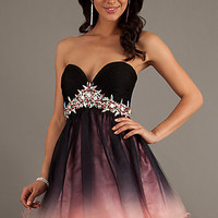 Short Black and Pink Ombre Party Dress by Dave and Johnny