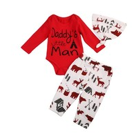 Baby Boy Outfit Daddy's Little Man Buffalo Plaid Camping