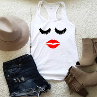 Lash and lips graphic tank top, racerback tank top for women