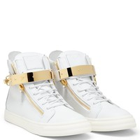 Giuseppe Zanotti SKYLAR white leather high tops sneakers with gold bar