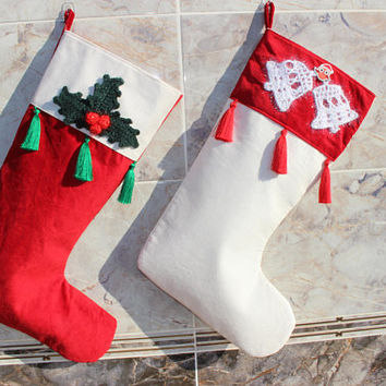 White Stocking Set Holly Berry Stocking Crochet Applique Stocking Owl Stocking  READY To SHiP Express SHiPPinG
