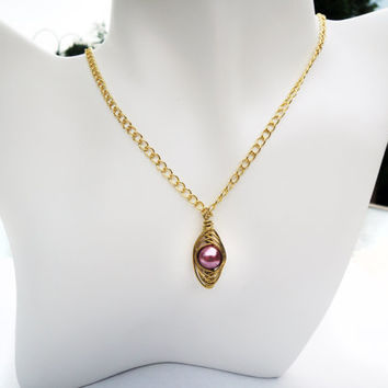 Stunning Gold Wire Wrapped Herringbone Technique Necklace with a Dark Pink Glass Pearl - Special Events - Bridal Jewelry