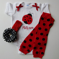 Personalized Ladybug Onesuit Baby Girl Gift Set With Leg Warmers and Polka Dot Flower Hairbow