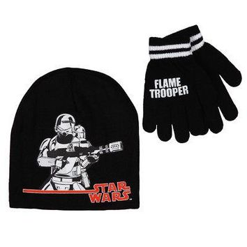 Star Wars Force Awakens Flame Trooper Disney Kid's Youth Beanie/Glove Set - Blk