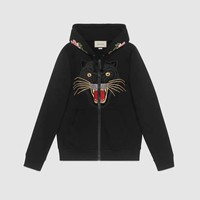 GUCCI Embroidered hooded sweatshirt with Gucci logo