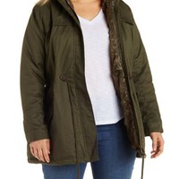 Plus Size Olive Anorak with Faux Fur Trim by Charlotte Russe