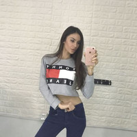 "[ On Sale ] "" Tommy Hilfiger "" Letters and Logo Print Women Cotton Crop Top Bare Midriff Women Top Long Sleeve T-Shirt _ 9279"