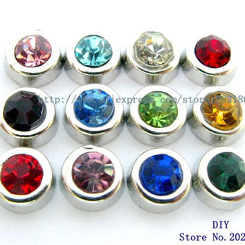 12pcs Zinc Alloy Mix Color Birthstone Rhinestone floating locket charm Fit  memory floating  locket FC181