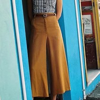 Camel Pockets Zipper Buttons Fashion Nine's Wide Leg Pants