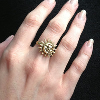 Gold Sun and Moon ring