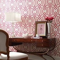 Trellis Wallpaper in Reds and Off-White from the Dolce Vita Collection by Antonina Vella - Seabrook Designs
