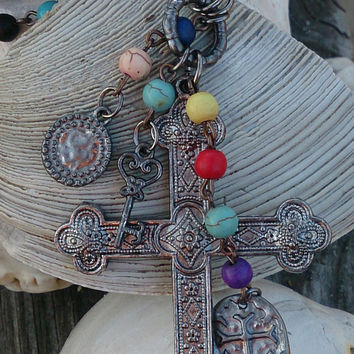 Religious Rosary Cross Assemblage Necklace Boho Bohemian Cowgirl Western Jewelry