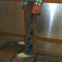 "31"" Patchwork Corduroy Pants Blue Brown Hippie Handmade Festival Heady  Kynd Valley Mens"