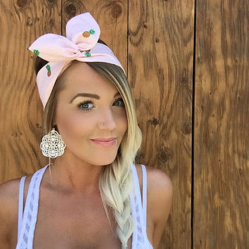 The Dotted Pineapple Dolly Bow || Baby Peach Pink w/ White Polkadots Pineapples Pinup Headband w/Twist Wire Vintage Rockabilly Fashion Hair