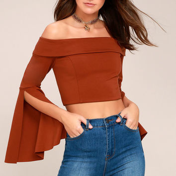 Frida Rust Red Long Sleeve Off-the-Shoulder Crop Top