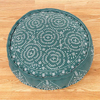 Porcelain & Jade Round Embroidered Pillow | Pillows and Throws| Home Decor | World Market