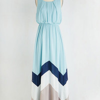 Colorblocking Long Sleeveless Maxi Romantic Resplendence Dress in Sky