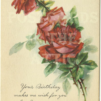 "Antique Postcard Roses ""Your Birthday...""  Early 1900s Gibson - Beautiful"