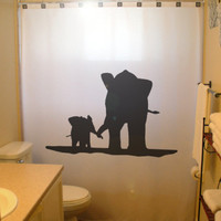 Mother Baby Elephant Shower Curtain family kids bathroom decor bath Mom Child African Wildlife custom unique waterproof extra long wide tall
