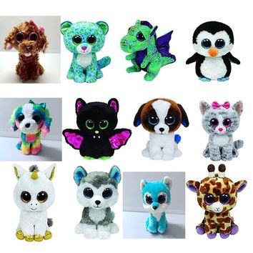 15CM Ty Original Beanie Boos Plush Toy Cinder Green Dragon Stuffed Animal Doll Big Eye Kids Toy Soft Cute Birthday Gift