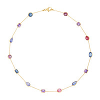 18K Gold Multi-Stone Chain Necklace | Moda Operandi