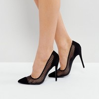 Public Desire Black Mesh Heeled Court Shoes at asos.com