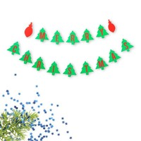 Merry Christmas Double Banner Christmas Tree and Ornament Red and Green Holiday Decoration