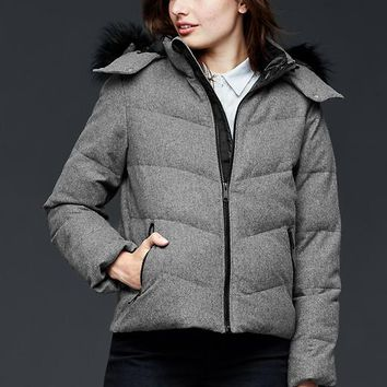 Gap Women Primaloft Faux Fur Trim Wool Puffer Jacket