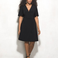 BEYOND by Ashley Graham Plus Size Belted Faux-Wrap Dress